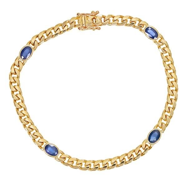 Armband 585 / 13,70gr Gelbgold L 18,5 cm 4 Saphire Detailbild #1