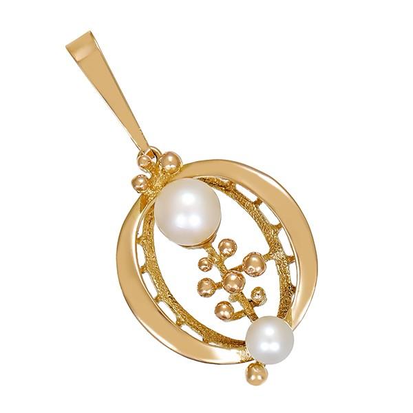 Anhänger 585 / 4,00gr Gelbgold 2 Perlen Detailbild #1