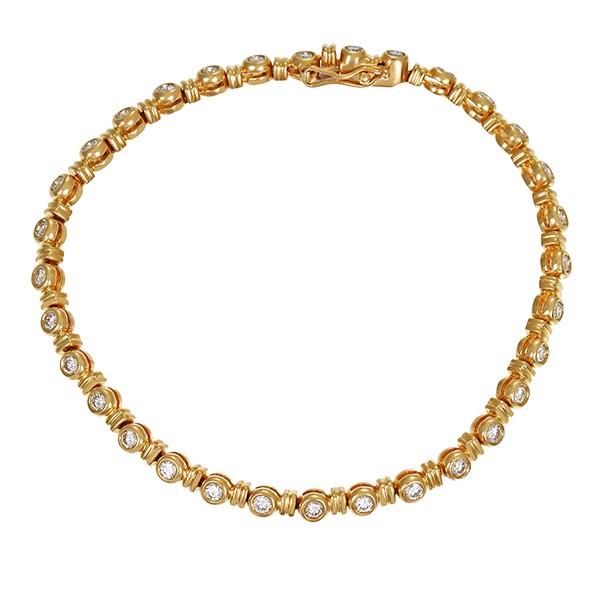 Armband 750 / 16,30gr Gelbgold L 18,5 cm Tennis- 32 Brill. z.ca. 1,60ct lgW (I-J) SI Detailbild #1