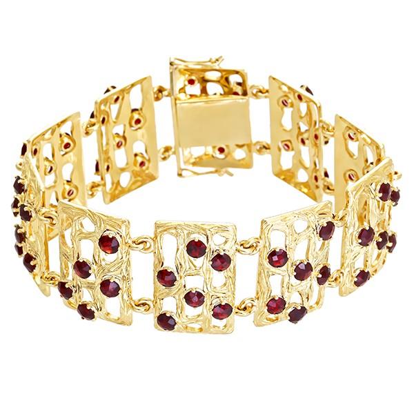 Armband 585 / 45,40gr Gelbgold L 18,5 cm 59 Granate Detailbild #1