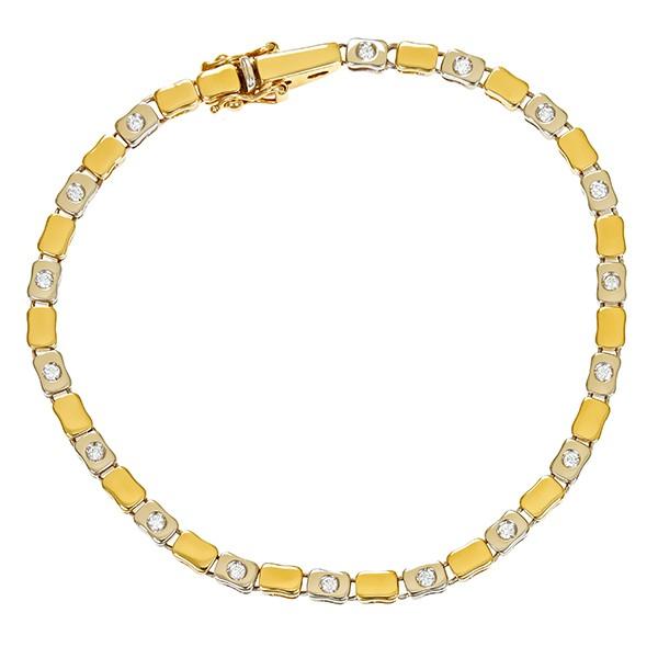 Armband 750 / 15,70gr Gelb-/Weißgold Fantasie- L 19 cm 17 Brill. z.ca. 0,34ct Detailbild #1