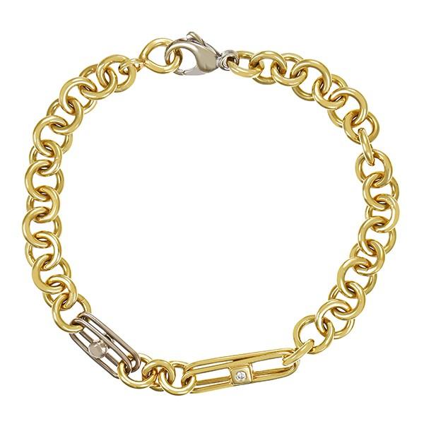 Armband 585 / 17,90gr Gelb-/Weißgold L 19 cm Anker- Fantasie- 2 Brill. z.ca. 0,04ct Detailbild #1