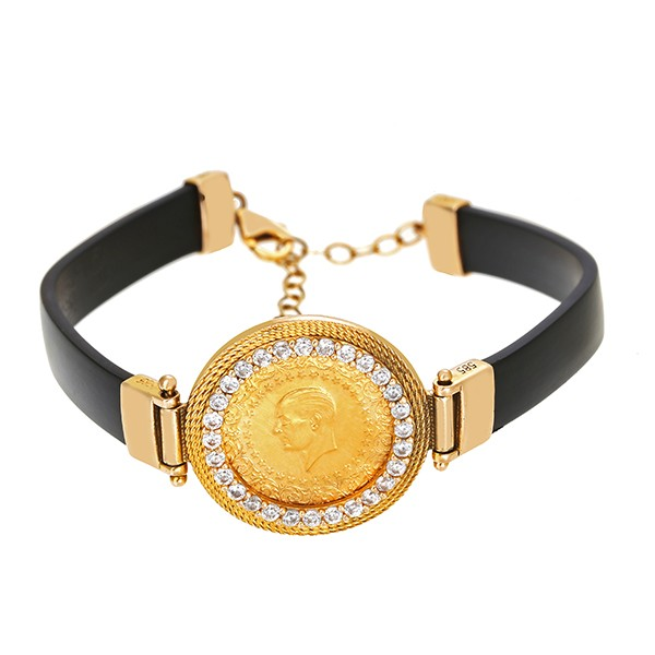Armband 585 / 9,00gr Gelbgold L 18 cm Muenze 28 Zirkonia Detailbild #1