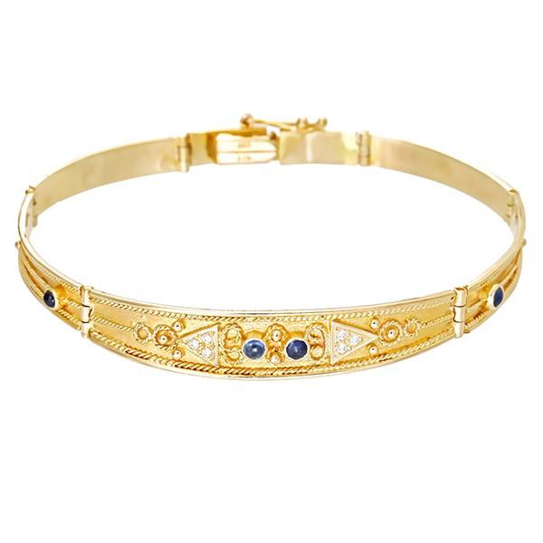 Armband 585 / 12,80gr Gelbgold L 20 cm 6 Zirkonia 4 Saphire Detailbild #1