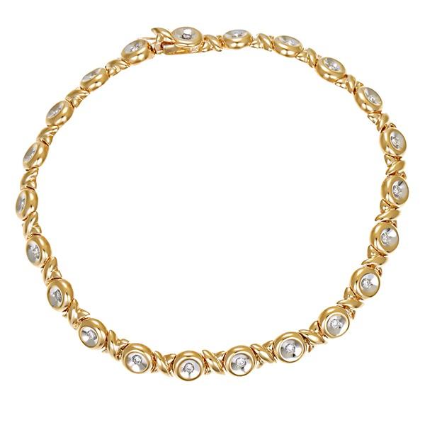 Armband 585 / 10,60gr Gelb-/Weißgold L 19 cm Fantasie- 22 Brill. z.ca. 0,22ct Detailbild #1