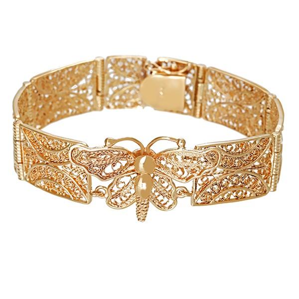 Armband 585 / 28,10gr Gelbgold L 19 cm Filigranarbeit Schmetterling Detailbild #1