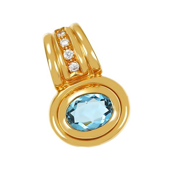 Anhänger 750 / 8,40gr Gelbgold Clip 1 Topas blau 4 Brill. z.ca. 0,04ct Detailbild #1