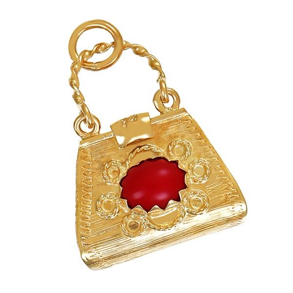 Anhänger 585 / 5,70gr Gelbgold 2 Korallen Tasche Detailbild #1