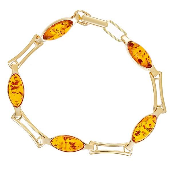 Armband 585 / 8,60gr Gelbgold L 17 cm 5 Bernsteine Detailbild #1