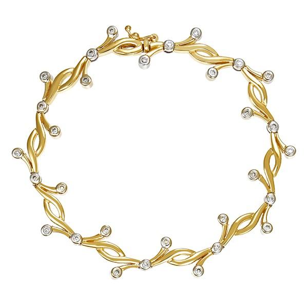 Armband 750 / 23,20gr Gelb-/Weißgold L 18,5 cm 30 Brill. z.ca. 0,60ct Detailbild #1