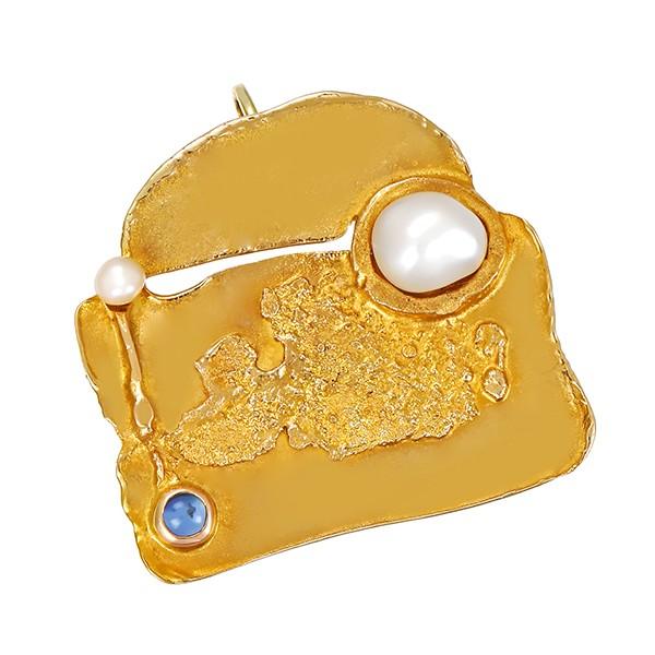 Anhänger 585 / 7,30gr Gelbgold ZP Saphir Detailbild #1