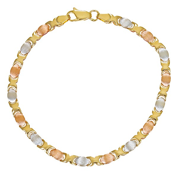 Armband 585 / 5,60gr Rot-/Weiß-/Gelbgold L 20 cm Fantasiemuster Detailbild #1