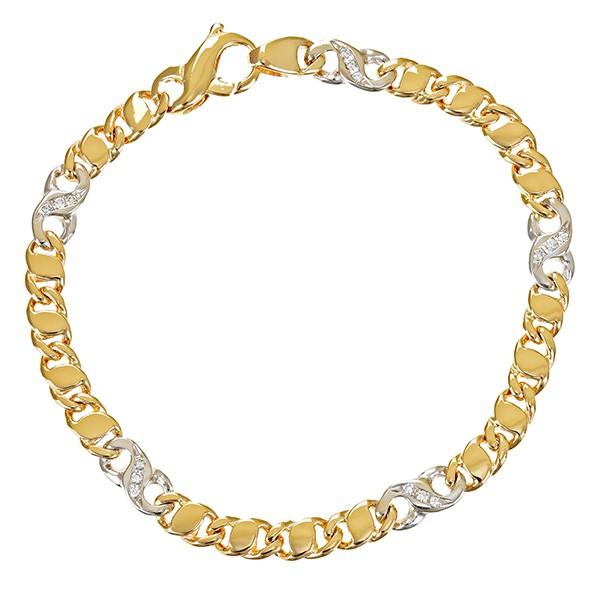 Armband 585 / 9,90gr Gelb-/Weißgold L 17,5cm Fantasiemuster 15 Brill. z.ca. 0,15ct Detailbild #1