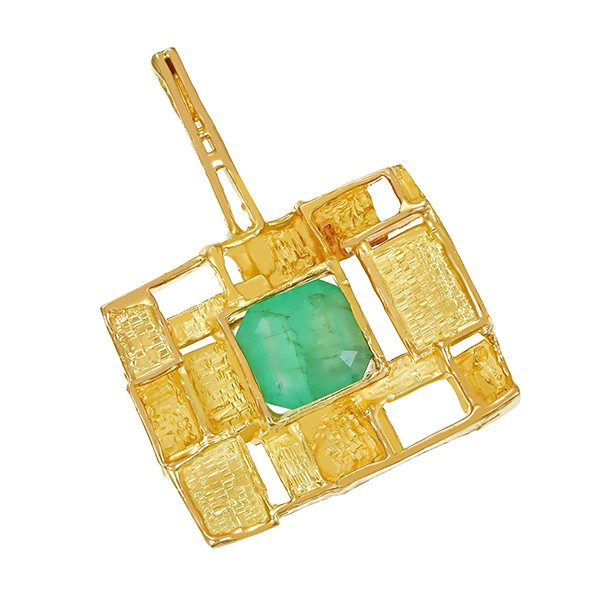 Anhänger 750 / 25,85gr Gelbgold Fremdzertifikat 1 Smaragd 9,50ct Detailbild #1