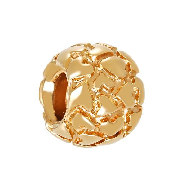 Anhänger 585 / 4,10gr Gelbgold Pandora Kugel mit Herzen Detailbild #1