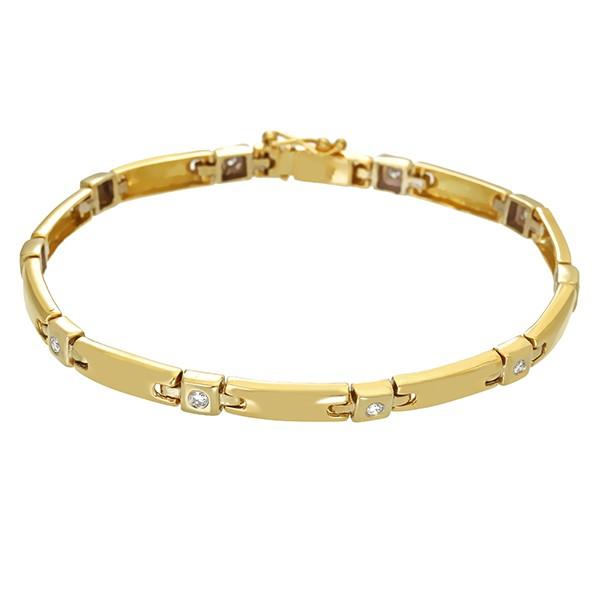 Armband 750 / 14,60gr Gelb-/Weißgold L 18 cm 10 Brill. z.ca. 0,35ct Detailbild #1