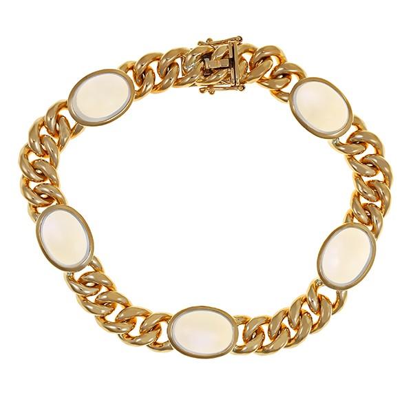 Armband 750 / 50,20gr Gelbgold L 19 cm 5 Mondsteine Detailbild #1