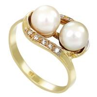 Ring,14K,Gelb/Weißgold,Perle,Diamant,Brillanten(en) Detailbild #1