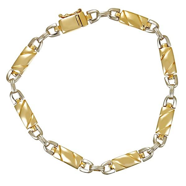 Armband 585 / 14,20gr Gelb-/Weißgold L 20 cm Fantasie- Detailbild #1