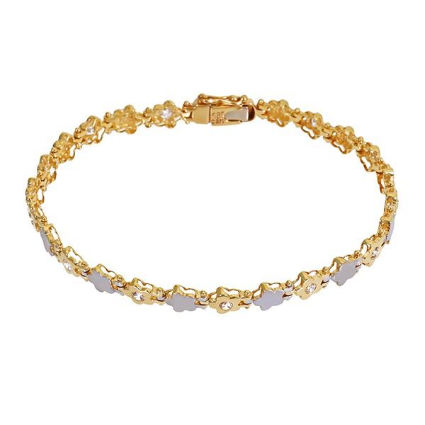Armband 585 / 9,60gr Gelb-/Weißgold L 19,5 cm 12 Zirkonia Detailbild #1