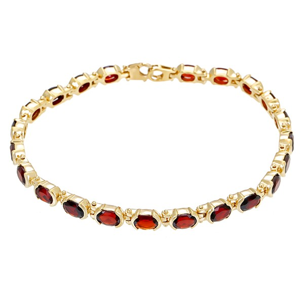 Armband 585 / 27,50gr Gelbgold L 24 cm 22 Granate Detailbild #1