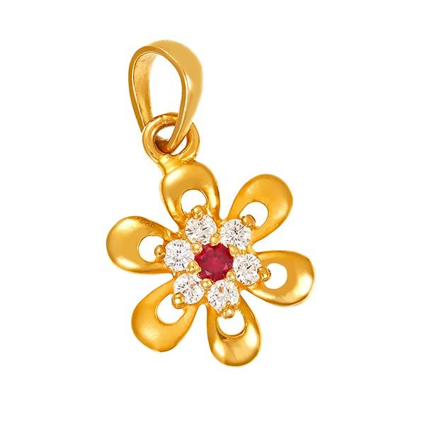 Anhänger 916 / 2,40gr Gelbgold Blume 6 Zirkonia 1 Schmuckstein Detailbild #1