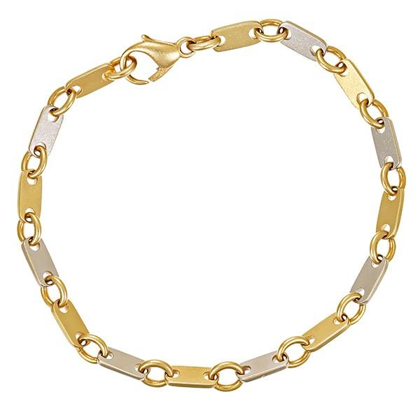 Armband 585 / 11,40gr Gelb-/Weißgold L 20 cm Plättchen- Detailbild #1