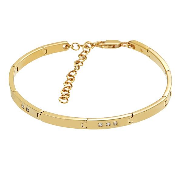 Armband 375 / 15,10gr Gelbgold L 22 cm 9 Brill. z.ca. 0,09ct Detailbild #1