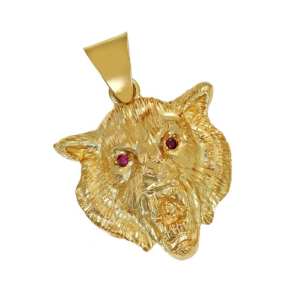 Anhänger 585 / 10,90gr Gelbgold 2 Rubine Wolf Detailbild #1