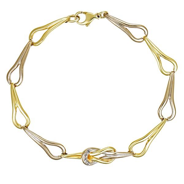 Armband 585 / 12,70gr Gelb-/Weißgold L 19 cm Fantasiemuster 5 Brill. z.ca. 0,05ct Detailbild #1