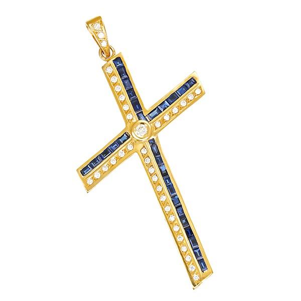 Anhänger 750 / 15,20gr Gelbgold Kreuz 29 Saphire 36 Brill. z.ca. 0,80ct Detailbild #1
