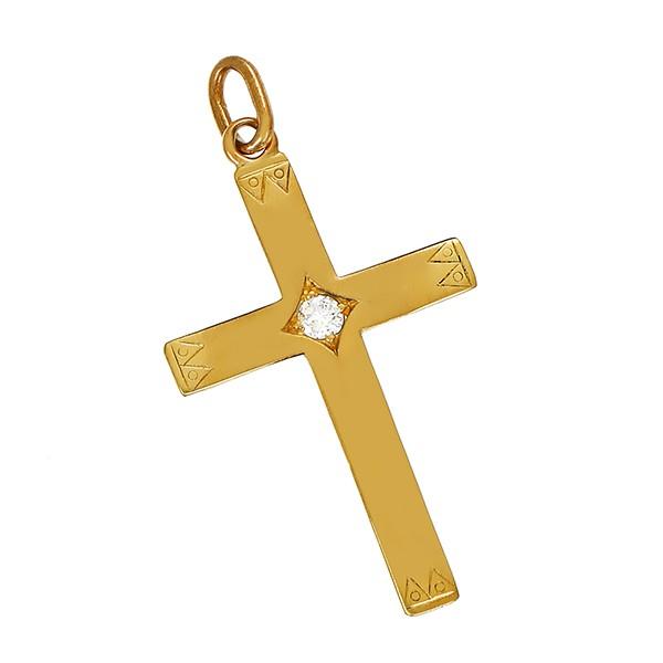 Anhänger 750 / 2,20gr Gelbgold Kreuz 1 Dia. ca. 0,10ct lgW (I-J) SI Detailbild #1