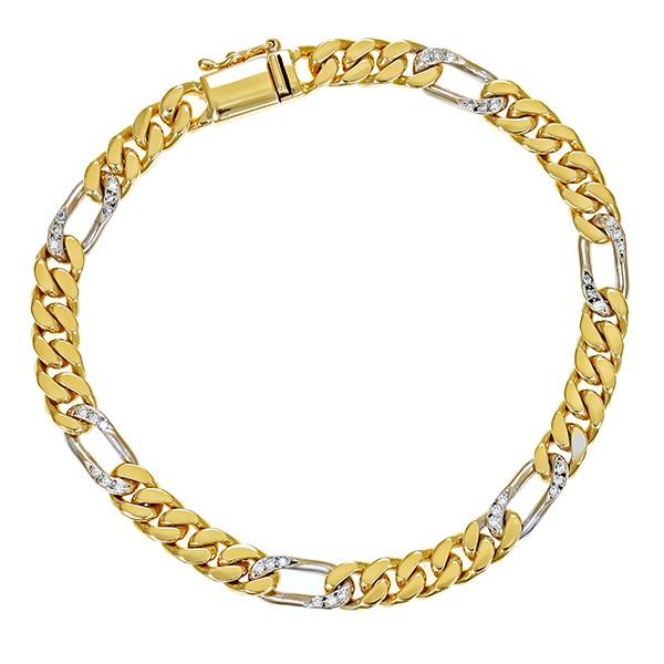 Armband 750 / 24,80gr Gelb-/Weißgold L 19,5 cm Figaro- 36 Brill. z.ca. 0,36ct Detailbild #1