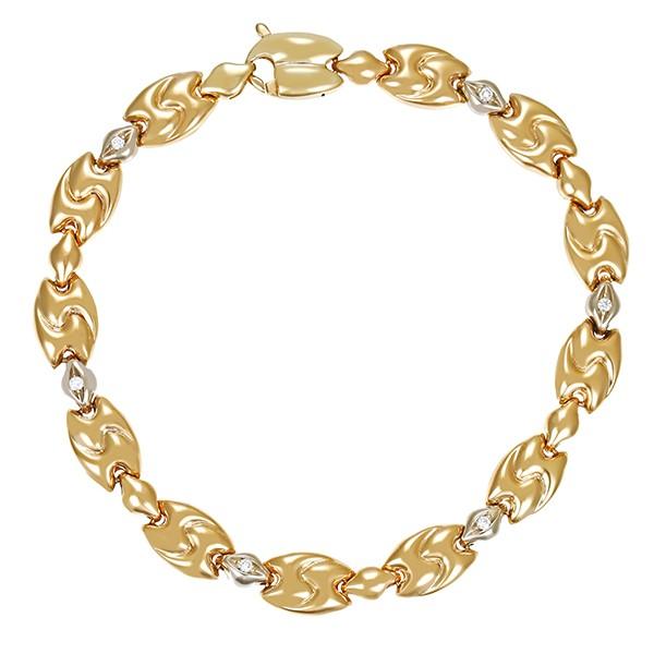 Armband 585 / 13,20gr Gelb-/Weißgold L 20 cm Fantasie- 6 Brill. z.ca. 0,06ct Detailbild #1