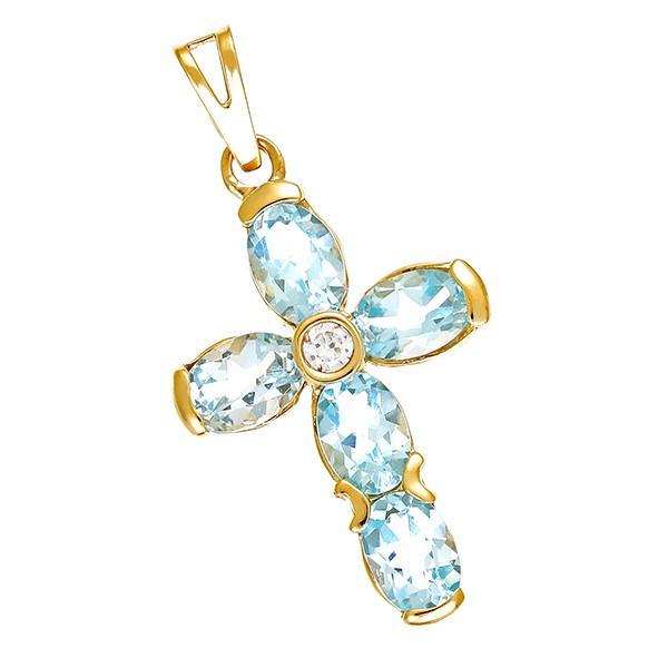 Anhänger 585 / 4,10gr Gelbgold Kreuz 5 Topase blau 1 Zirkonia Detailbild #1