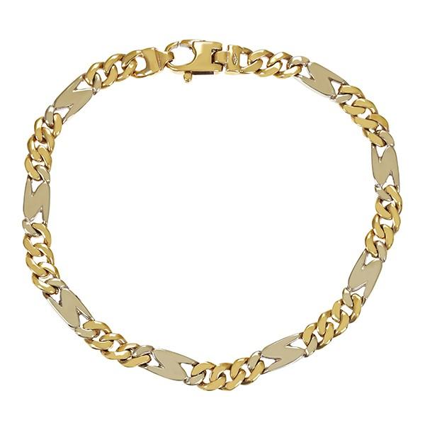 Armband 585 / 17,90gr Gelb-/Weißgold Figaro- L 22 cm Detailbild #1